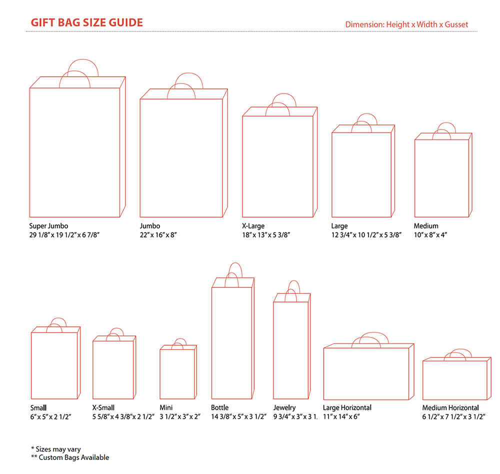 Gift Bag Size & Order Quantity Guide